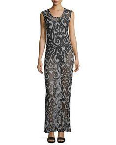 NORMA KAMALI Sheer Printed Scoop-Neck Maxi Dress, Dark Gray/Black. #normakamali #cloth #dress