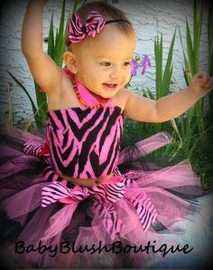 Tutu Hot Pink & Black Zebra Tutu Baby Toddler Outfit Costume Set 3 pc (Tutu, Stylish Top, Headband)