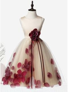 A-Line/Princess Knee-length Flower Girl Dress - Organza/Satin/Tulle Sleeveless Scoop Neck With Flower(s) (010104752)