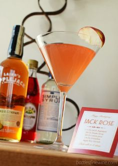 Jack Rose cocktail recipe - FREE Print out recipes for a Self Serve Bar at your Thanksgiving feast!