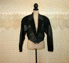 Black Leather Bomber Jacket Womens Jackets by MagpieandOtis