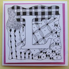 zentangle alphabet birthday card