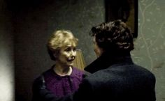 Sherlock gives Mrs. Hudson a kiss. :3 (.gif)  I love his random, unexpected shows of affection.