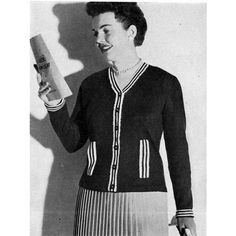 This striped trim cardigan knitting pattern is sized for Women 16, 18 and 20.