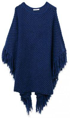Na Bobstore o poncho é azul marinho e com franjas (R$ 367,20)