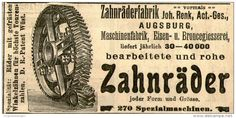 Original-Werbung/ Anzeige 1905 : ZAHNRÄDER / ZAHNRÄDERFABRIK JOHANN RENK AUGSBURG - ca. 100 x 50 mm