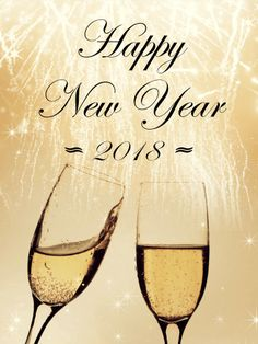 Elegant Happy New Year Card 2018: Make everyone feel elegant this year! This sepia New Year card is filled with understated class, from the soft, glowing fireworks to the freshly poured glasses of bubbly. You can hear the clock strike midnight and the distant noise of the celebration, but nothing will distract you from each other. Full of grace and style, this New Year card lets everyone know there is no finer person to ring in the New Year with.