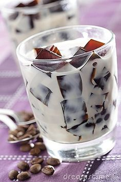 Coffee ice cubes and skim milk.