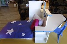 american girl doll mia's bed/desk with bedding and accessories, display , no box