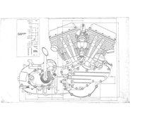 2 HARLEY DAVIDSON PANhead Engine BLUEPRINT Transmision FLH