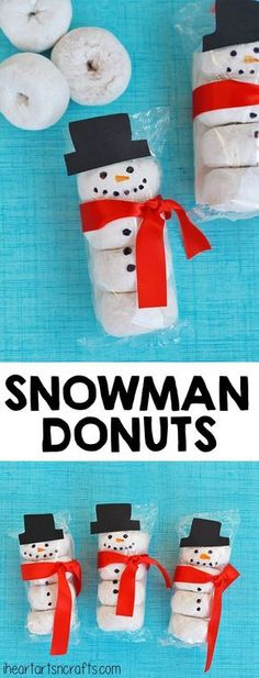 Donuts Kids Snack Idea - I Heart Arts n Crafts Snowman Donuts - What a cute idea for a classroom snack or fun treat for the kids!Snowman Donuts - What a cute idea for a classroom snack or fun treat for the kids! Noel Christmas, Christmas Goodies, Winter Christmas, Christmas Presents, Family Christmas, Christmas Music, Christmas Parties, Preschool Christmas Gifts For Classmates, Christmas Party Treats For Kids