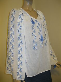 Vintage white flowers /blue leaves Romanian ethnic blouse - size M/L at www.greatblouses.com