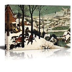 Hunters in the Snow Winter by Pieter Bruegel the Elder  Canvas Wall Art Famous Fine Art Reproduction World Famous Painting Replica on Wrapped Canvas Print Modern Home Decor Wood Framed  Ready to Hang 24 x 36 * Check this awesome product by going to the link at the image.(It is Amazon affiliate link) #s4s