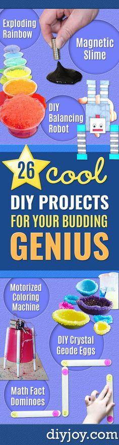 DIY Stem and Science Ideas for Kids and Teens - Fun and Easy Do It Yourself Projects and Crafts Using Math, Electronics, Engineering Concepts and Basic Building Skills - Creatve and Cool Project Tutorials For Kids To Make At Home This Summer - Boys, Girls Science Crafts For Kids, Easy Science Experiments, Science Projects, Science Ideas, Stem Science, Science Diy, Learn Science, Kids Crafts, Easy Crafts