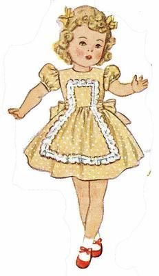 Simplicity 2538 Doll Clothes pattern for 20 inch little girl dolls like Shirley Temple. A 1940s sewing pattern.