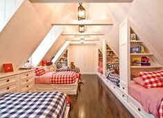 """""""View this Great Cottage Kids Bedroom with flush light & Bunk beds in W Hampton Bch, NY. The home was built in 1924 and is 7028 square feet. Discover & browse thousands of other home design ideas on Zillow Digs. Bunk Rooms, Attic Bedrooms, Kids Bedroom, Bedroom Decor, Shared Bedrooms, Bedroom Ideas, Bedding Decor, Childrens Bedroom, Floral Bedding"""