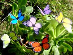 Butterfly Garden Ornaments & Patio Décor (to be placed around house in plants or flowers)