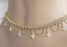 Gold Belly Chain/Couture Belt Waist Hip Chain/Sexy Rhinestone Waist Chain: This Listing is for ** Beautifully… Waist Jewelry, Body Chain Jewelry, Body Jewellery, Jewlery, Fancy Jewellery, Silver Jewellery, Antique Jewellery Designs, Jewelry Design, Saree With Belt
