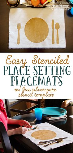 Make these Easy, No Sew Place Setting Placemats with the included free printable template!
