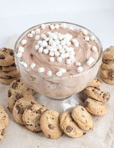 Hot Cocoa Cheesecake Dip - The perfect dip for your cookies! It's filled with tiny marshmallows and hot cocoa flavor. It has the perfect mousse texture too!
