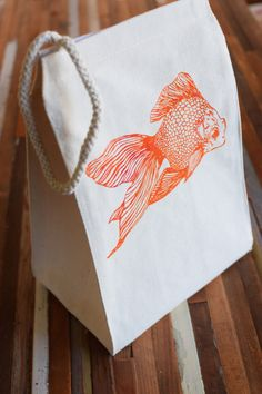 Reusable Lunch Bag - Screen Printed Recycled Cotton Lunch Bag - Eco Friendly Lunch Box - Goldfish - Canvas Tote Bag - Lunch Sack - Handmade by ohlittlerabbit on Etsy https://www.etsy.com/listing/221665120/reusable-lunch-bag-screen-printed