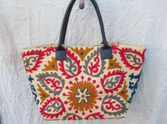 Beach Tote bag In suzani Embroidery In Golden Gray and pink embroidey Tote shoulder Boho bag on Etsy, $55.00