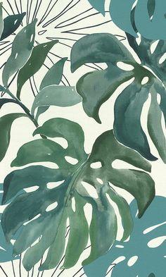 Green Watercolor Jungle Ferns Botanical Wallpaper R6169