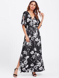 Split Sleeve Shirred Waist Floral Velvet Dress -SheIn(Sheinside)