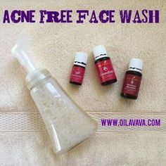 Acne Free Face Wash using young living essential oils. Tea Tree oil, Frankincense, Grapefruit oil and Lavender (optional). Ten Drops each. 1 Tsp Jojoba and 1/4 c Castille Soap