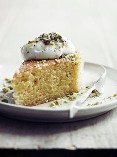 pistacho empapado y tarta de cítricos
