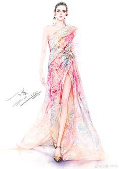 微博 Fashion Design Sketchbook, Fashion Design Drawings, Fashion Sketches, Fashion Drawing Dresses, Fashion Illustration Dresses, Fashion Illustrations, Dress Design Drawing, Dress Sketches, Fashion Figures