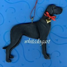 Uncropped Black Great Dane Christmas Ornament by whitedogart, $16.00
