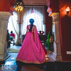 This bride wore a fuschia pink Sabyasachi lehenga for her mehendi and it's the best thing you'll see today! Wedding Story, Wedding Blog, Fairmont Jaipur, Sabyasachi Bride, Bridal Hairdo, Pink Lehenga, Pink And White Stripes, Wedding Weekend, Mehendi