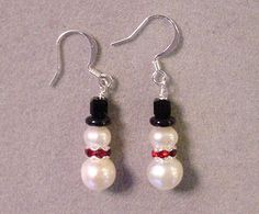Christmas Jewelry Earrings SNOWMAN EARRINGS Freshwater Pearls - Choice Silver or Gold. $11.00, via Etsy.