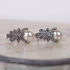 vintage style marcasite crown earrings by gama weddings | notonthehighstreet.com