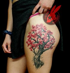 Cherry Blossom Tree Thigh Tattoo by Jackie Rabbit by on DeviantArt - Custom Tattoo by Jackie Rabbit @ Eye of Jade Tattoo 319 Main St. Tree Thigh Tattoo, Tree Sleeve Tattoo, Blossom Tree Tattoo, Sleeve Tattoos, Upper Thigh Tattoos, Tattoo Side, Back Tattoo, Trendy Tattoos, Tattoos For Women