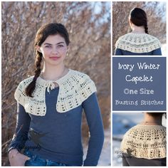 Ivory Winter Capelet from Busting Stitches #crochet #capelet #braidedcable