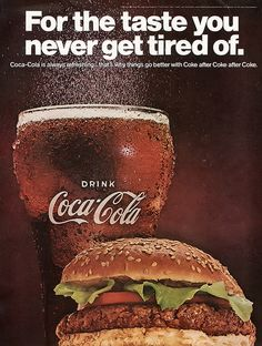 """1967 Coca-Cola """"For the Taste You Never Get Tired Of"""" With a Hamburger on the Side Vintage Advertisement Print Ad Collectible Food Wall Art Pepsi Ad, Coca Cola Poster, Coca Cola Ad, Always Coca Cola, Coke, Vintage Recipes, Vintage Food, Vintage Ads, Vintage Posters"""