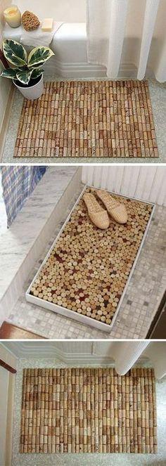 Alfombras de baño con tapones de corcho - Muy Ingenioso