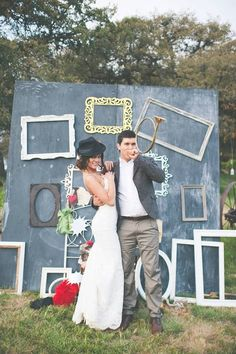 super fun photo booth idea http://www.weddingchicks.com/2013/09/11/vintage-diy-wedding-3/