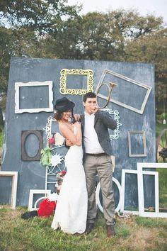 super fun photo booth idea http://www.weddingchicks.com/2013/09/11/vintage-diy-wedding-3/
