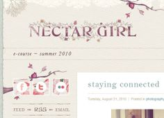Pretty inked / stamped logo with floral graphics.