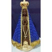 Imagem De Nossa Senhora Aparecida Em Pérolas Azul 26 Cm