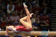 19 APR 2014: Rebecca Clark (254) from the University of Oklahoma competes on the beam during the Division I Women's Gymnastics Team Championship held at the Birmingham Jefferson Convention Complex in Birmingham, AL. Chris Putman/NCAA Photos