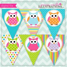 Polka Dot Owls Theme - Printable Banner- Printable Party Favors - Owl Party Printables