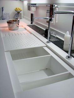 Choosing a New Kitchen Sink Home Decor Kitchen, Kitchen Furniture, Kitchen Interior, Home Interior Design, Home Kitchens, Kitchen Worktop, Kitchen Cabinetry, Kitchen Sinks, Küchen Design