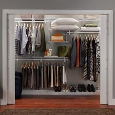Adjustable Wire Closet Organizer with Vinyl coated steel with 15 feet hanging space and 19 feet of shelf space also with 5 feet of space for shoes