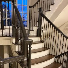 Wow!  A customer has finished her handrails & matching iron balustrades in a Brown/Gray Eco Satin finish by Fine Paints of Europe.  Absolutely stunning Dimpy!! Sent via @planoly #planoly @patrickstreetinteriors #finepaintsofeurope #paint #luxurypaint #interiordesign #frederickmd, #getitdowntown #homeinspiration #marylanddesign #ecosatin Fine Paints Of Europe, Satin Finish, Absolutely Stunning, Brown And Grey, Stairs, Iron, It Is Finished, Interiors, Photo And Video