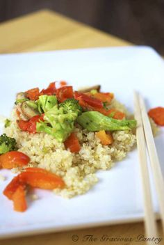 Clean Eating Vegetable Quinoa Stir Fry  (Makes 3 servings)  Ingredients  1 large red bell pepper, chopped  1 1/2 cups chopped, raw broccoli  1 cup sliced, brown mushrooms  1 tsp. garlic powder OR 1 tbsp. chopped, fresh garlic  1 tsp. onion powder OR 1/2 a chopped, red onion  1 tbsp. virgin coconut oil  3 cups cooked quinoa  Low sodium, organic Tamari or Soy sauce for topping