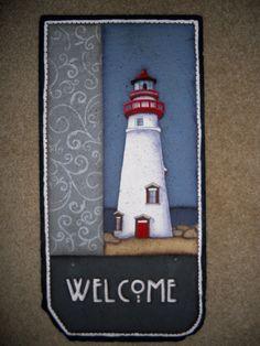 Marblehead Lighthouse/Ohio.  Hand painted on slate.  By Jackie Jasinski